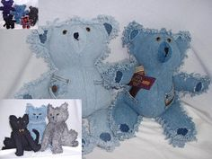 Denim Teddy Bears/similar to my bears, only I fray the front seam,too.  This may be a better idea, to have a cleaner face.