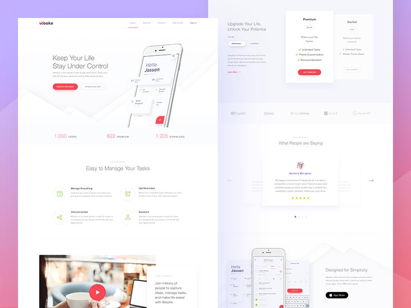 Wooke To Do List App Landing Page In 2020 App Landing Page Landing Page Website Design Wordpress
