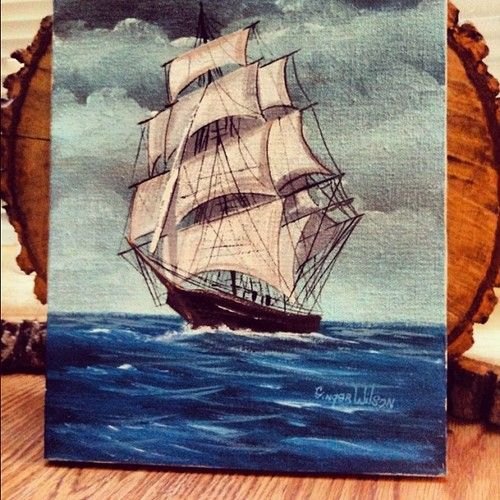 Owl Mouth Vintage Ship Paintings Pirate Ship Painting Painting