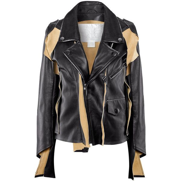 H&M Leather jacket (62.405 CRC) ❤ liked on Polyvore featuring outerwear, jackets, tops, leather jacket, coats, black, zip jacket, genuine leather jacket, asymmetrical moto jacket and leather rider jacket