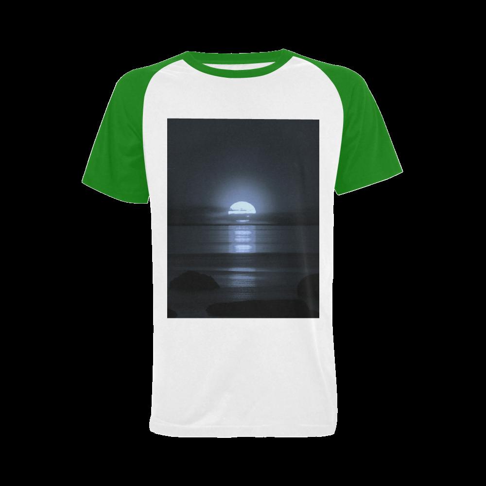Moony Sunset Men's Raglan T-shirt (USA Size)