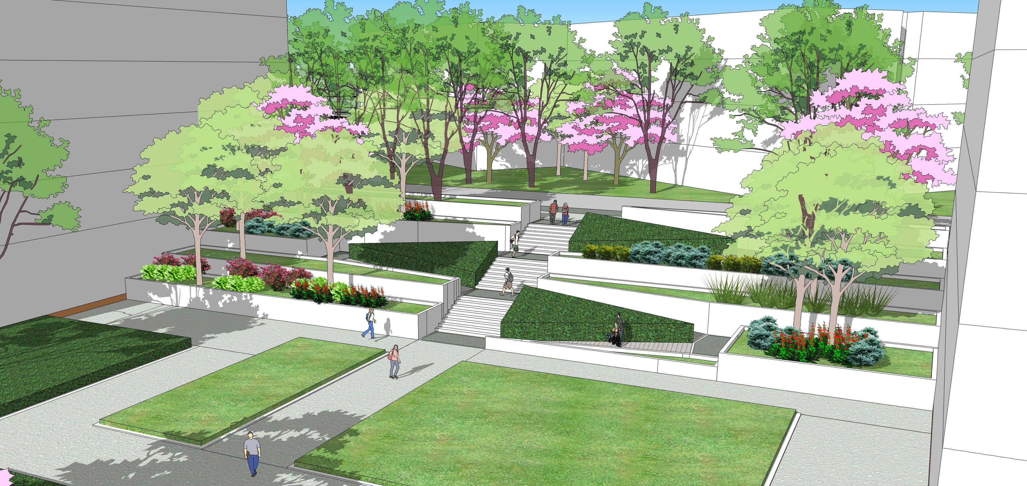 Landscape Design Perspective University Park Modern Landscape Ramp Design Landscape Corridor And Entryway Ga Landscape Model Ramp Design Landscape Design