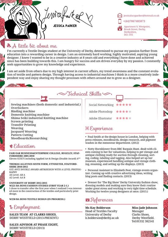 ตัวอย่างการเขียน Resume และ CV Excellent Resume Pinterest - fashion resume template