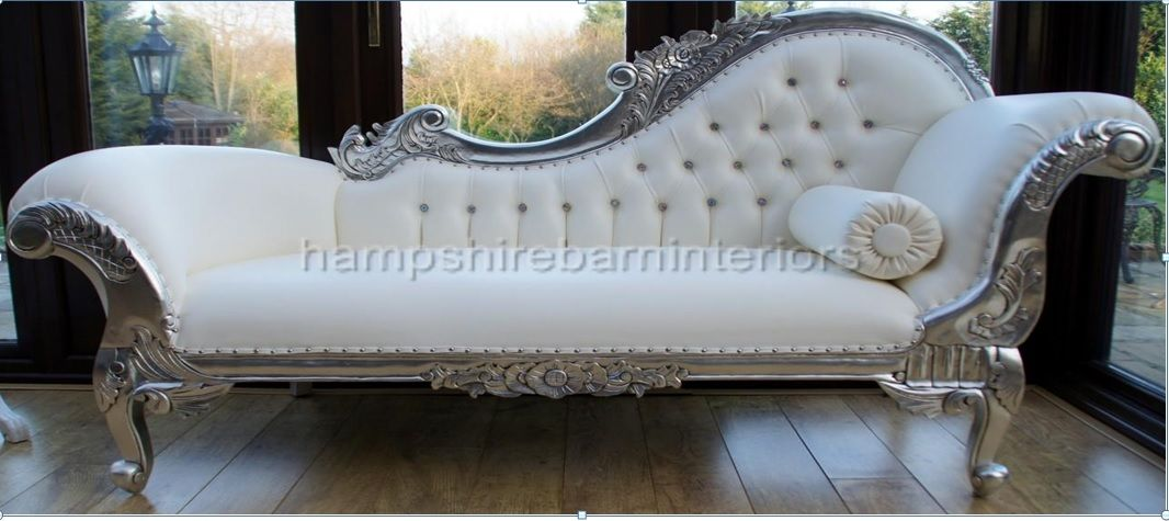 RIGHT HAND LARGE SILVER AND WHITE FAUX LEATHER CHAISE LONGUE : faux leather chaise lounge - Sectionals, Sofas & Couches