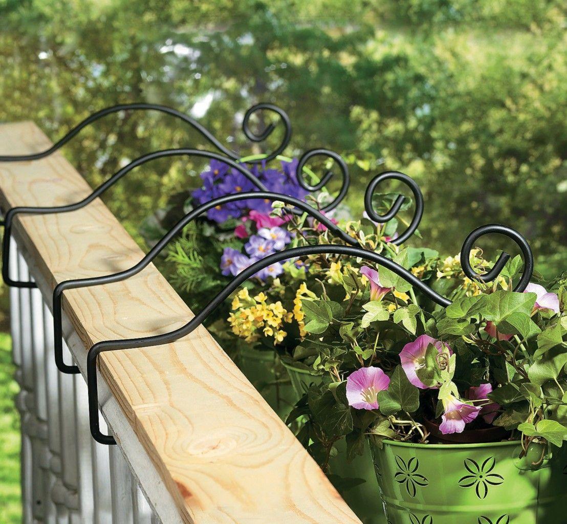 Set Of 4 Metal Deck Rail Plant Hanger Planter Hooks New Ebay