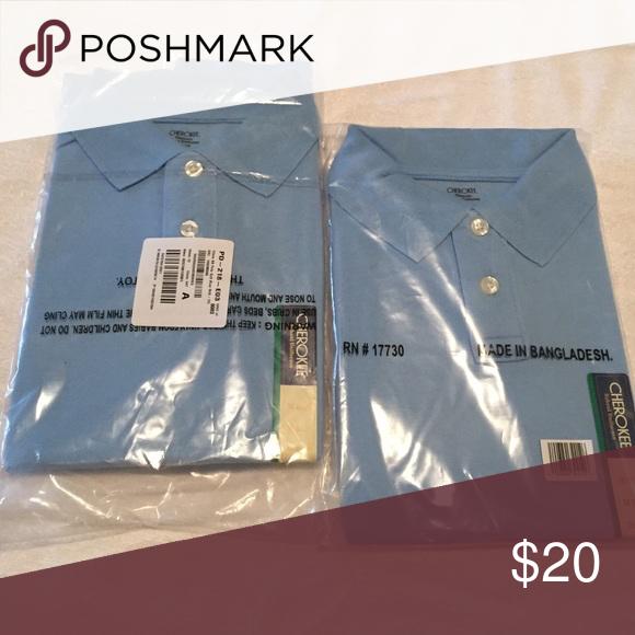 2 boys polo shirts medium 8/10 2 new in packaging boys polo shirts.  Cherokee size Medium M 8/10.  Uniform. Light blue, soft blue Cherokee Shirts & Tops Polos