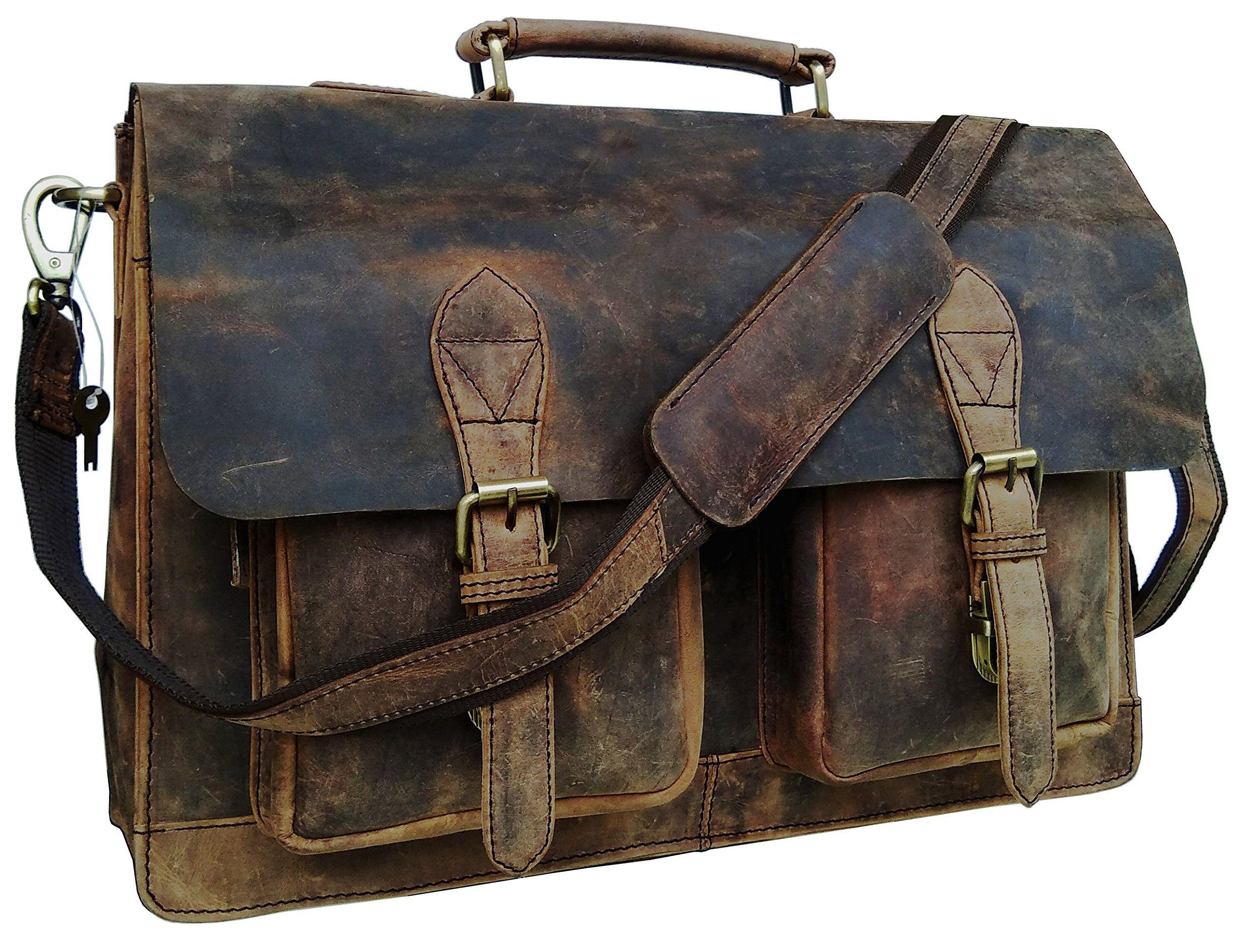 9700e7cdc2 Cuero 15 Inch Retro Buffalo Hunter Leather Laptop Messenger Bag Office  Briefcase College Bag