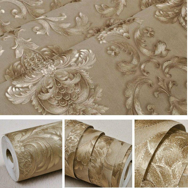 Luxury Victorian Damask Embossed Wallpaper Gold Metallic