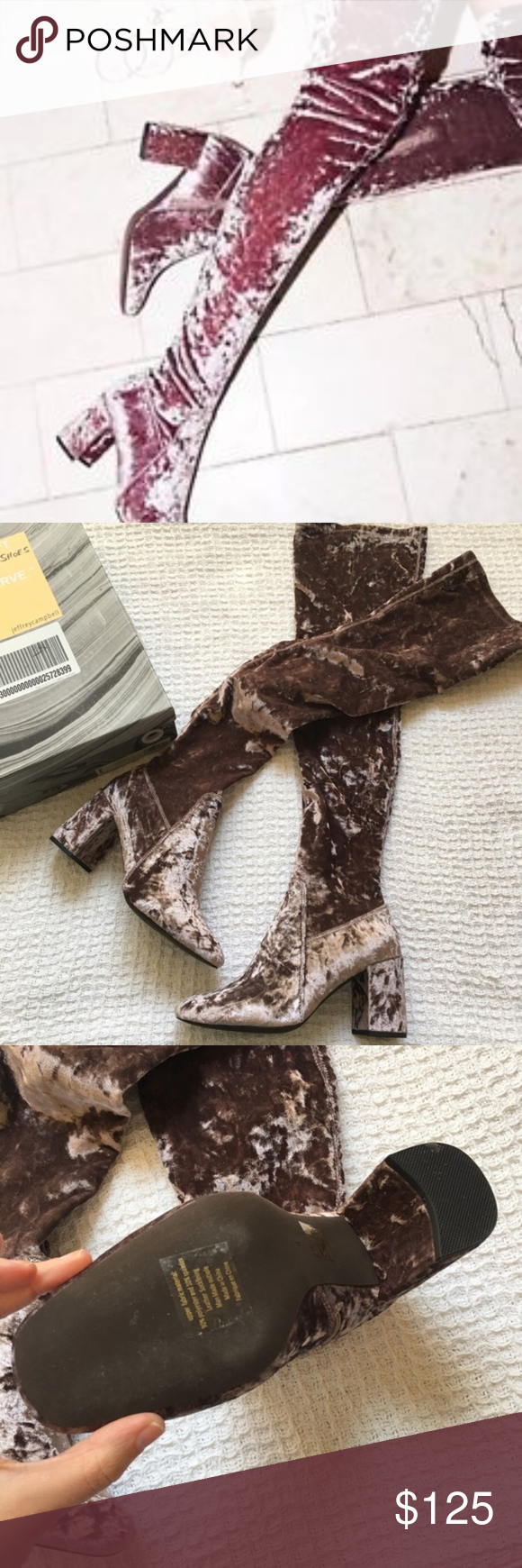6f77d737139 Jeffrey Campbell Cienega Taupe Crushed Velvet Boot Brand  Jeffrey Campbell  Condition  Like new!