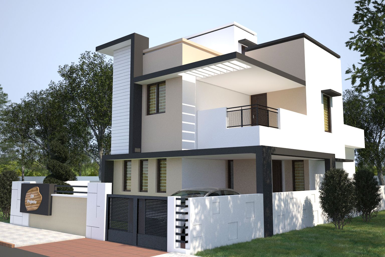 Elevations of residential buildings in indian photo for Architecture design for home in mysore