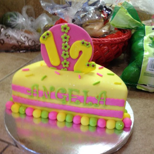 Little girls 6 month halfa birthday cake Lemon cake with