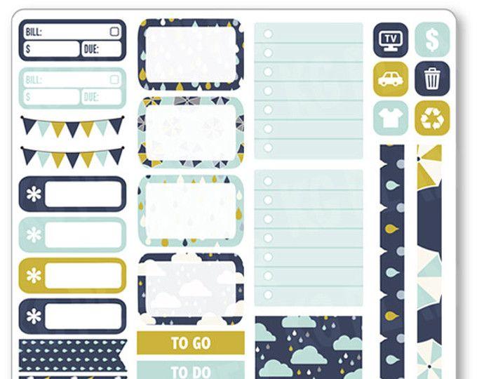 Día lluvioso funcional planificador de Kit pegatinas para el papel de Erin Condren Planner, Filofax, ciruela