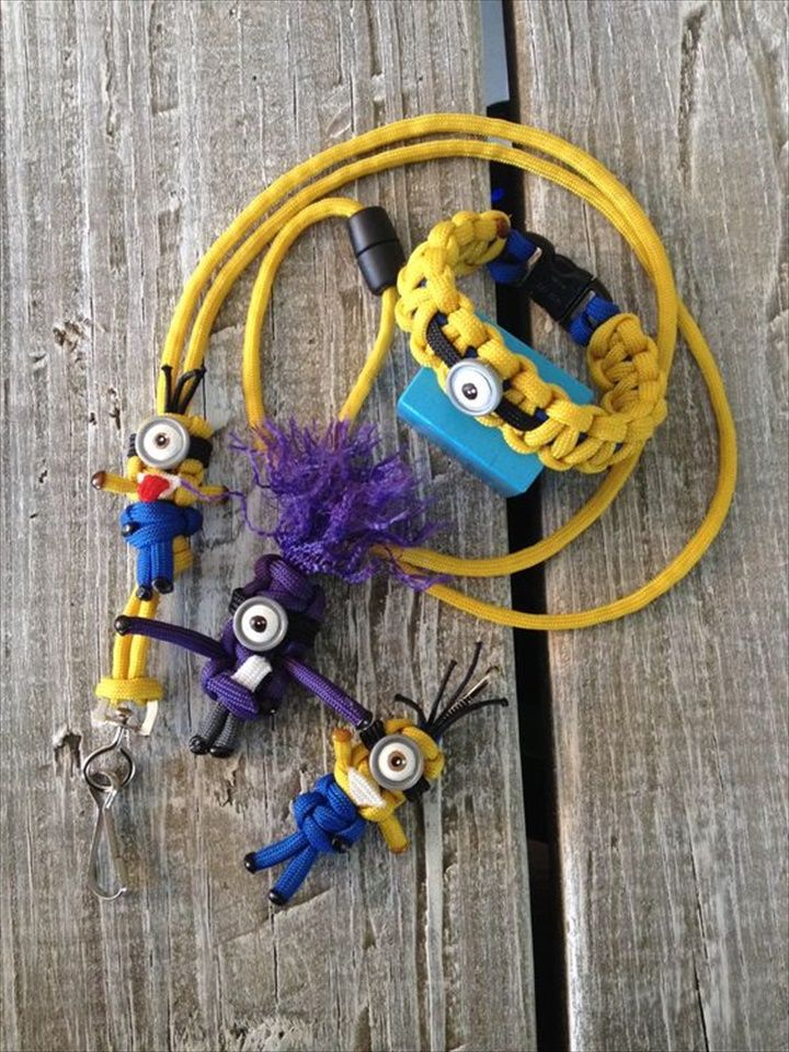 Minion Paracord- 30 DIY Easy Paracord Project Ideas | DIY to Make