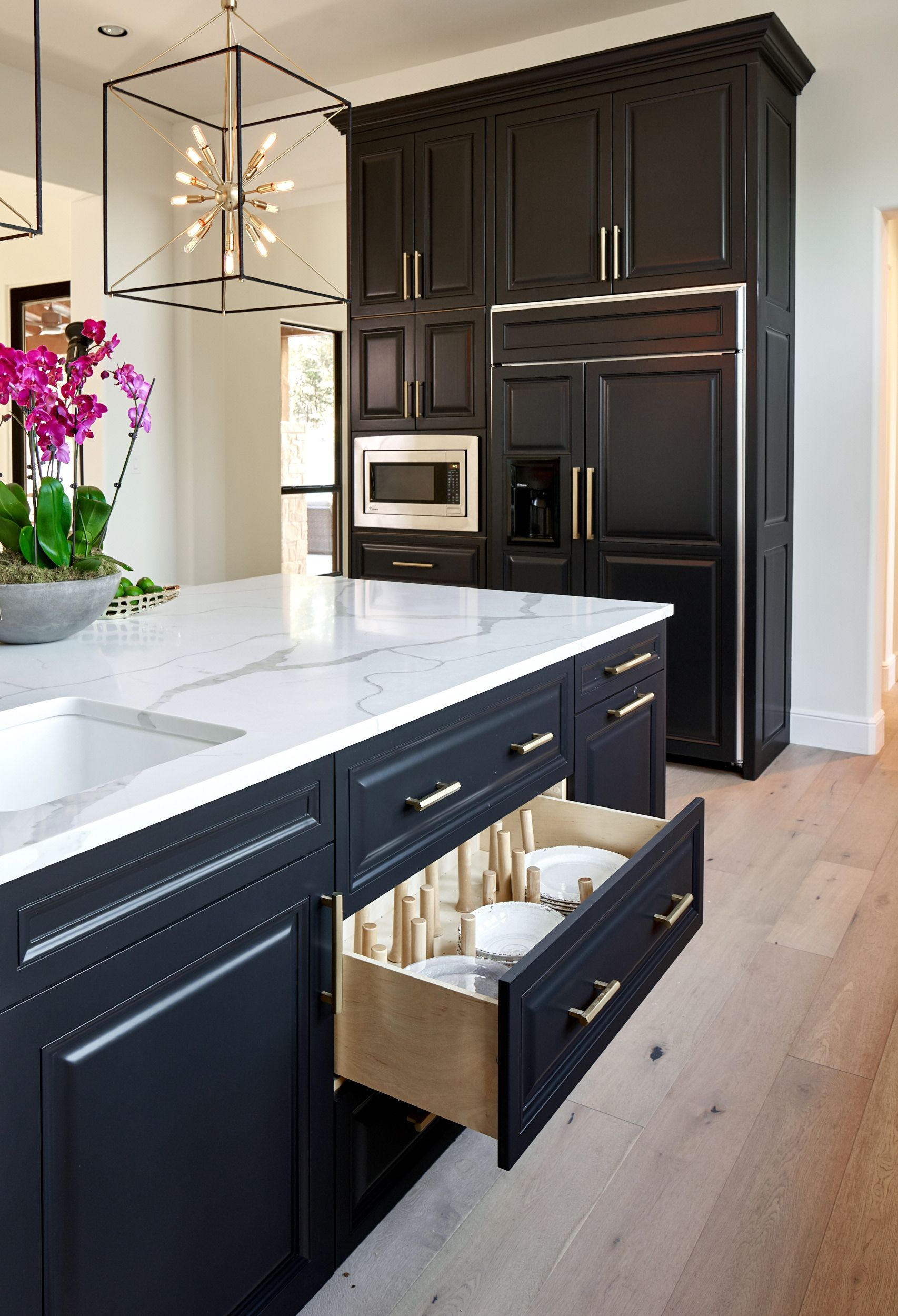 Black White And Gold Transitional Kitchen With European White Oak Floors Custom Peg Drawer Pullout Kitchen Design European White Oak Floors Kitchen Flooring