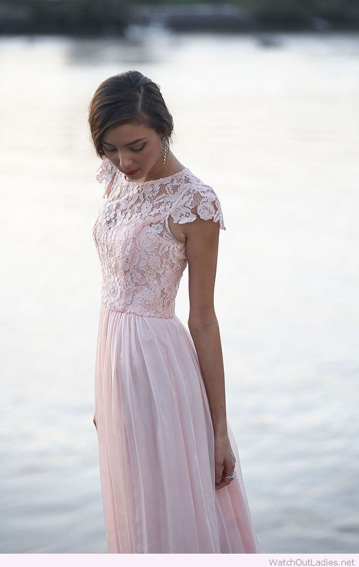 Light pink long dress with lace - watchoutladies.net - Pinterest ...