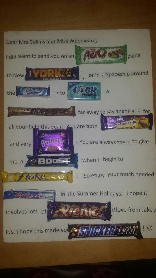 Chocolate gift card for a teacher with UK chocolate bars ...