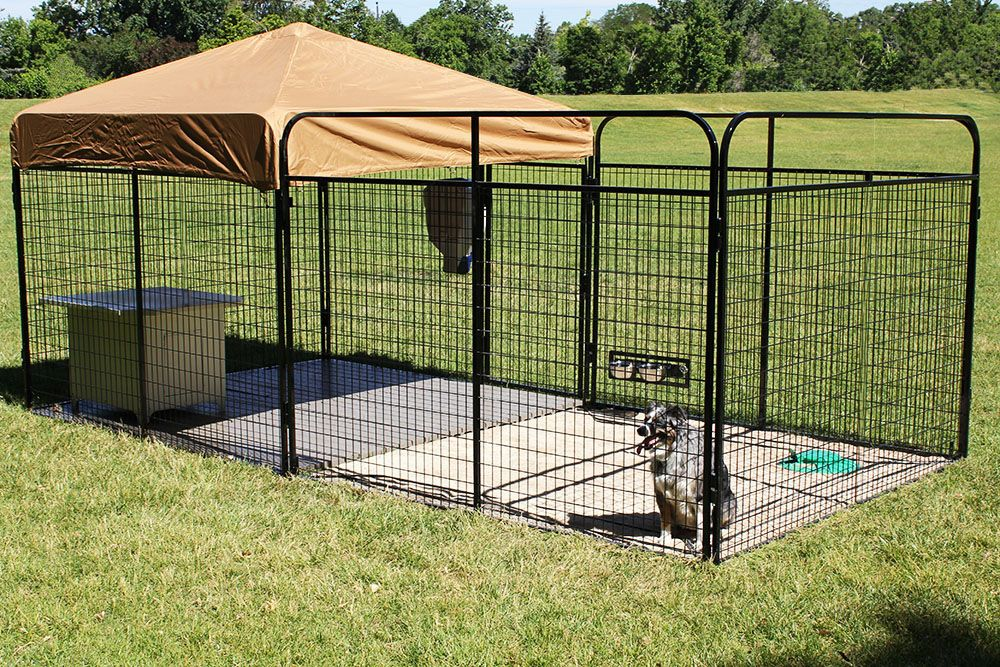 6 X 16 Ultimate Large Breed Outdoor Dog Kennel Run Allows Your Pet To Have A Large Apace To Run Around And Portable Dog Kennels Dog Kennel Dog Kennel Cover