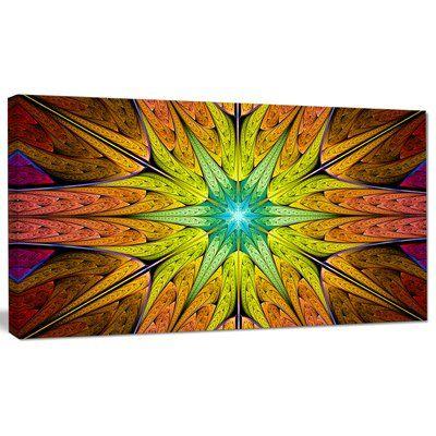 "DesignArt 'Extraordinary Fractal Yellow Design' Graphic Art on Canvas Size: 20"" H x 40"" W x 1"" D"