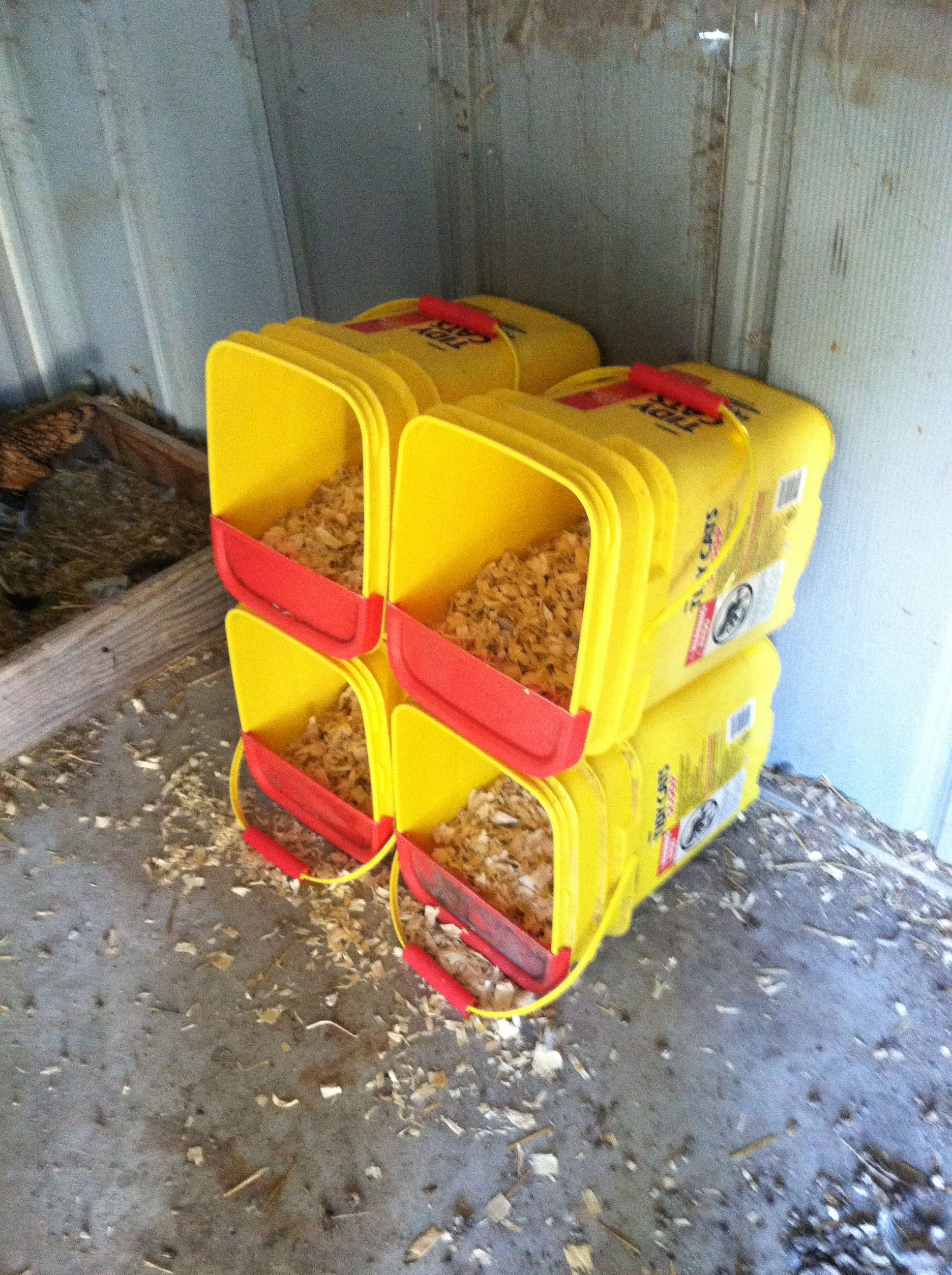 Nesting Boxes For Chickens Just Used Old Tidy Cat Litter