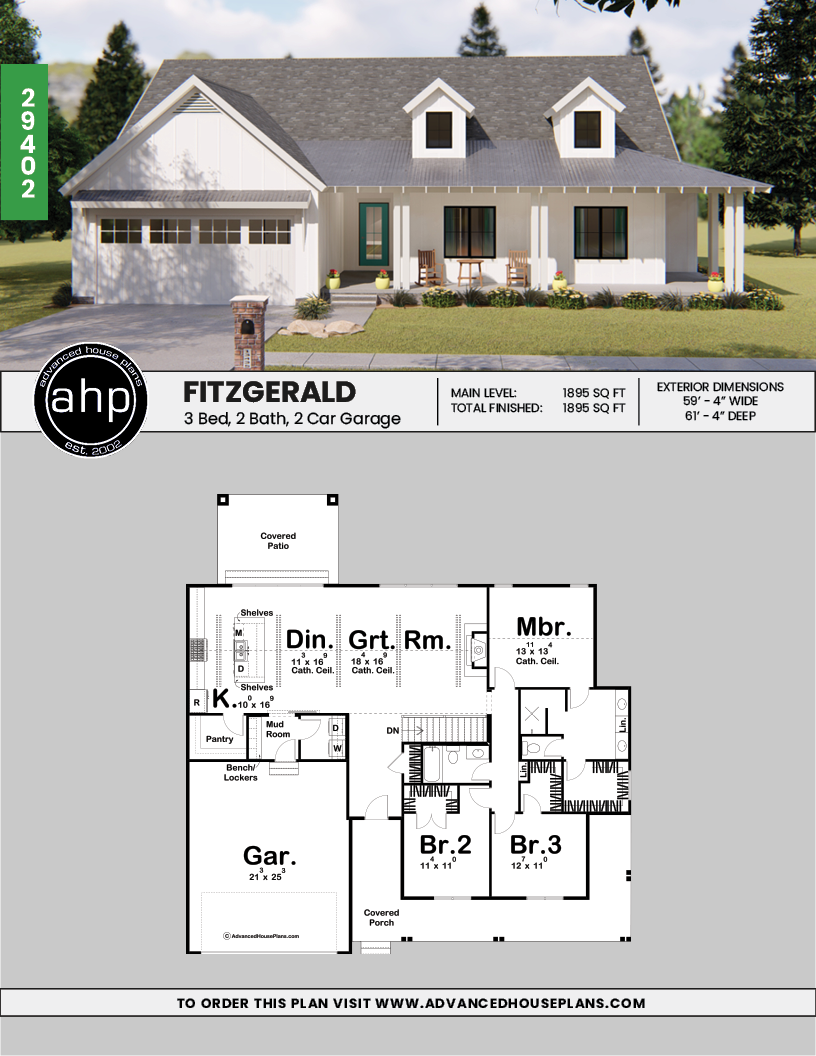 Fitzgerald 1 Story Modern Farmhouse House Plan Small