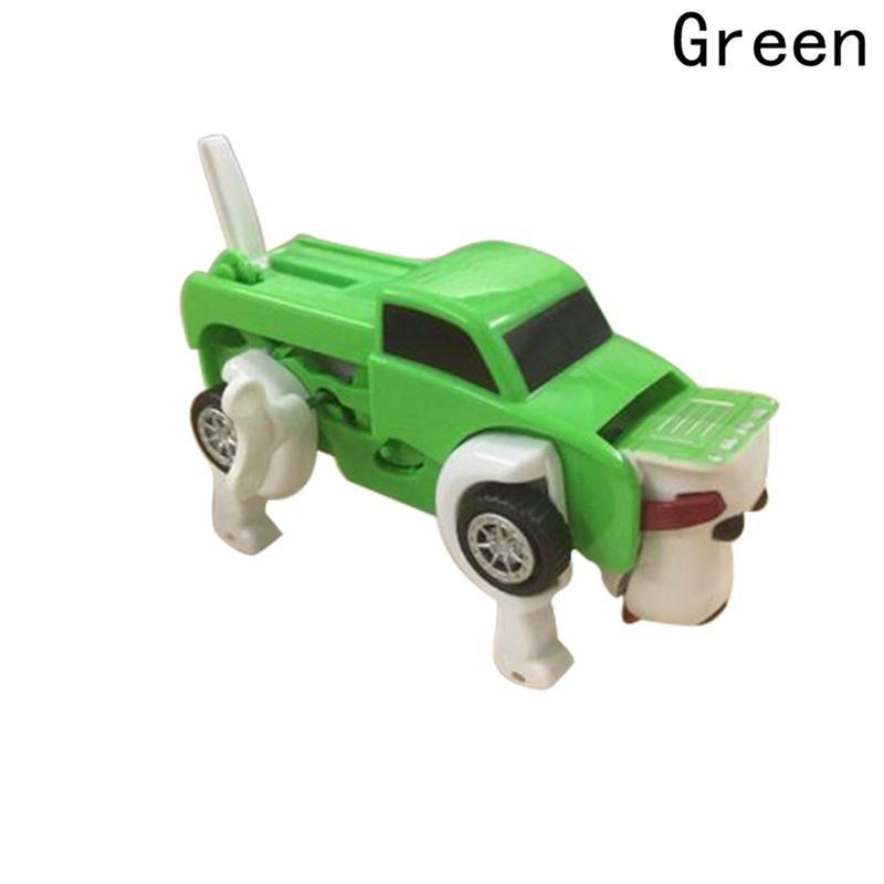 3Colors No Need Batteries Automatic Transformation Dog Car Vehicle Clockwork