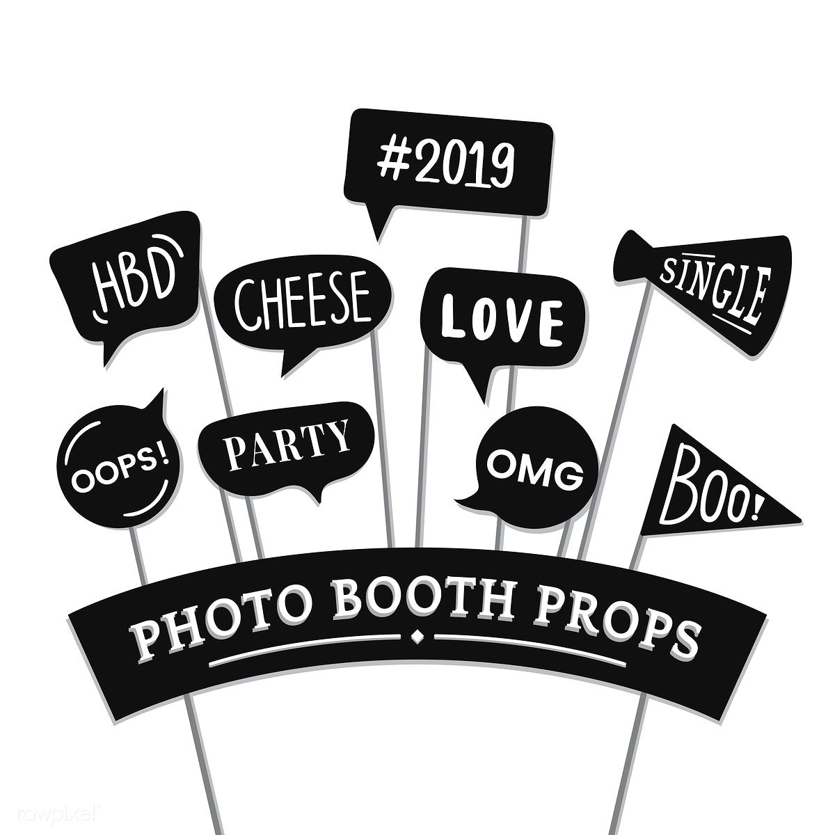 Word Expressions Set For Party Photo Booth Props Vector Free Image By Rawpixel Com Manotang Photo Booth Props Party Photo Booth Photo Booth Party Props