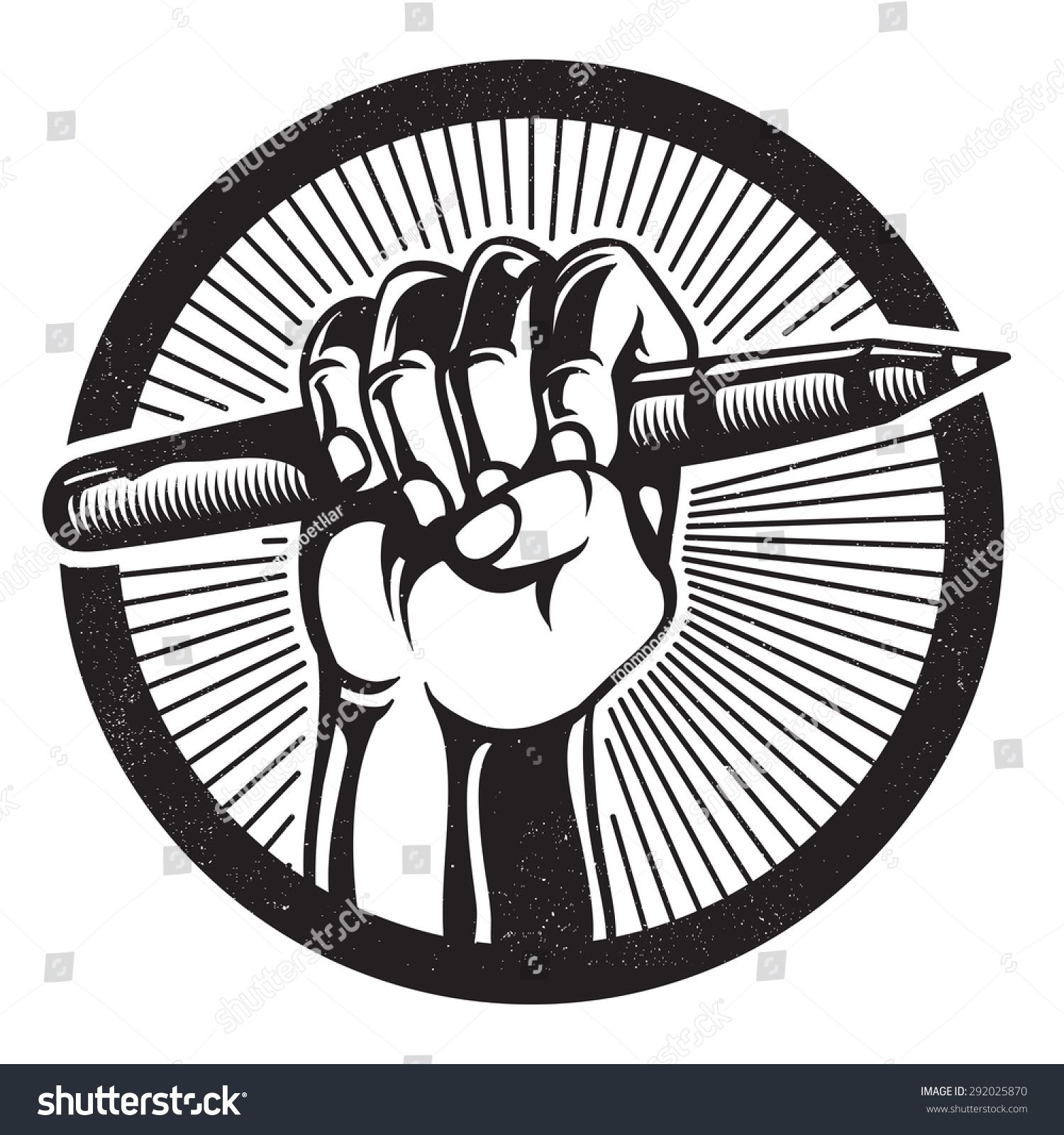 REVOLUTION & PROPAGANDA STYLE. Protesting human hand fist