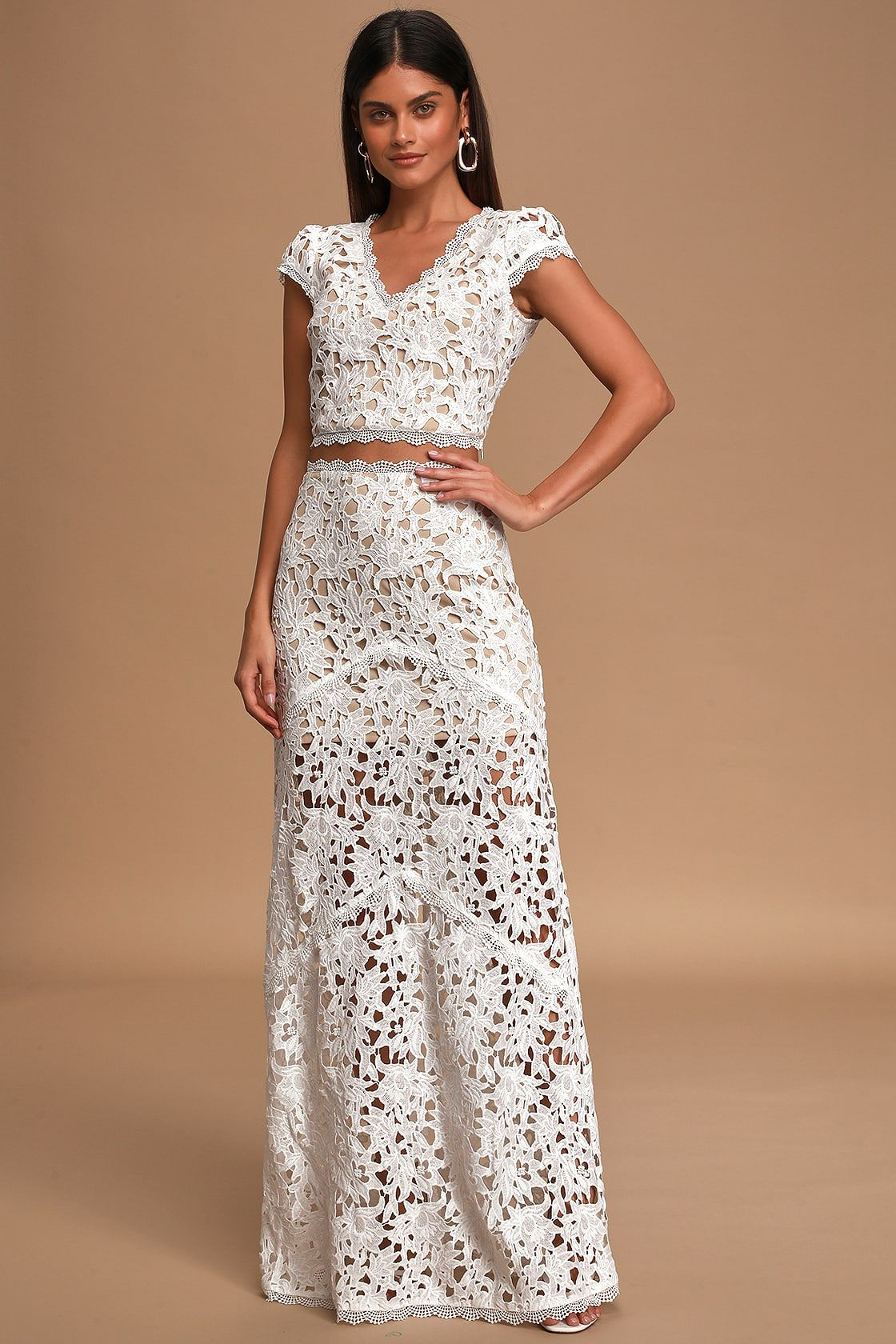 Special Moments White Crochet Lace Two Piece Maxi Dress Crochet Dress Outfits White Crochet Dress Maxi Dress [ 1680 x 1120 Pixel ]