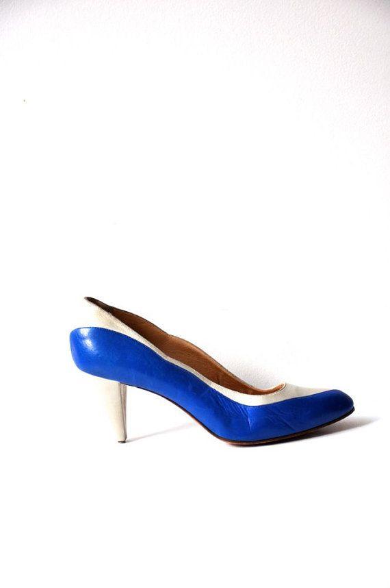 Vintage 80's Maud Frizon Paris Blue and Beige by BlackPaganVintage, $30.00