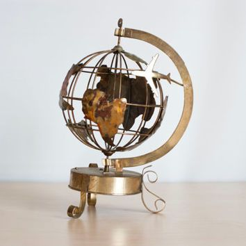 Vintage Spinning Metal World Globe Music Box, Copper Brass Industrial Style…