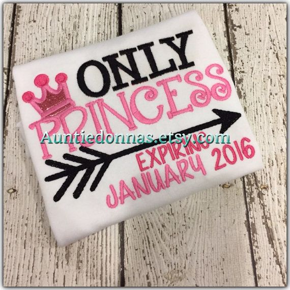Pregnancy Announcement Reveal Arrow Only Child Expiring Embroidery