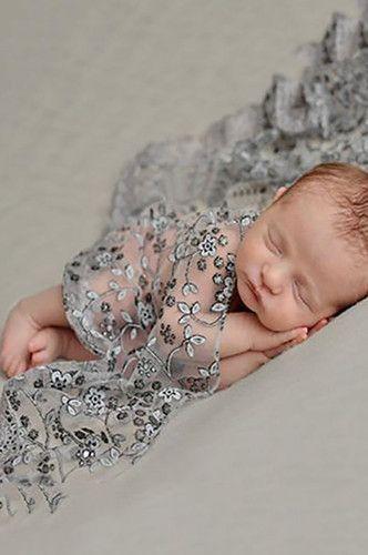 CCPSW6 Grey Silver Baby Sheer Scarf Swaddle Photo Prop Newborn Wrap