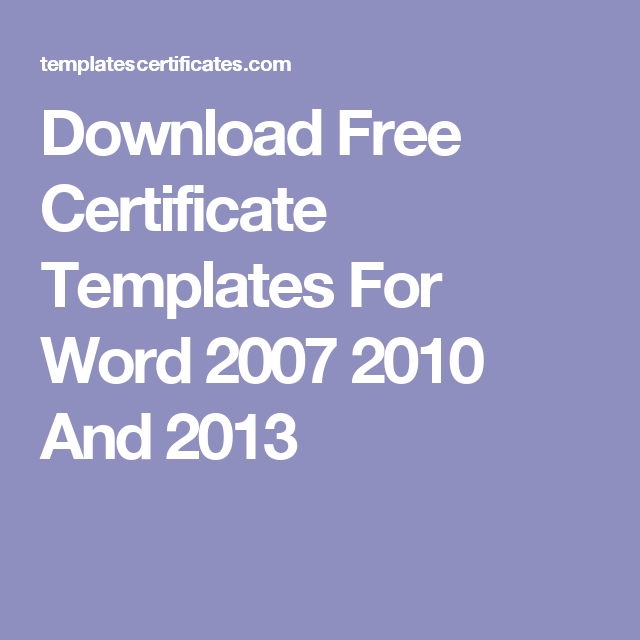 download free certificate templates for word 2007 2010 and