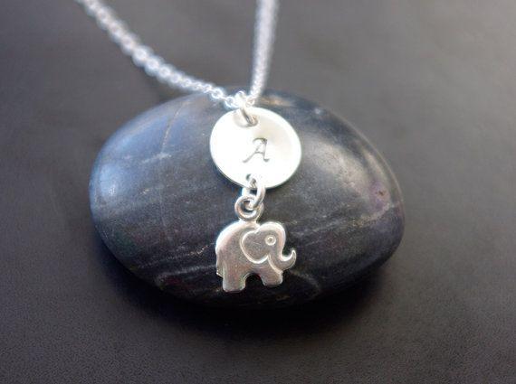 Monogram Jewelry Personalized Elephant Necklace by SarahOfSweden