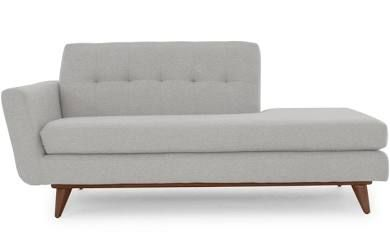 Gray Hughes Mid Century Modern Chaise - Bella Dove - Mocha ...