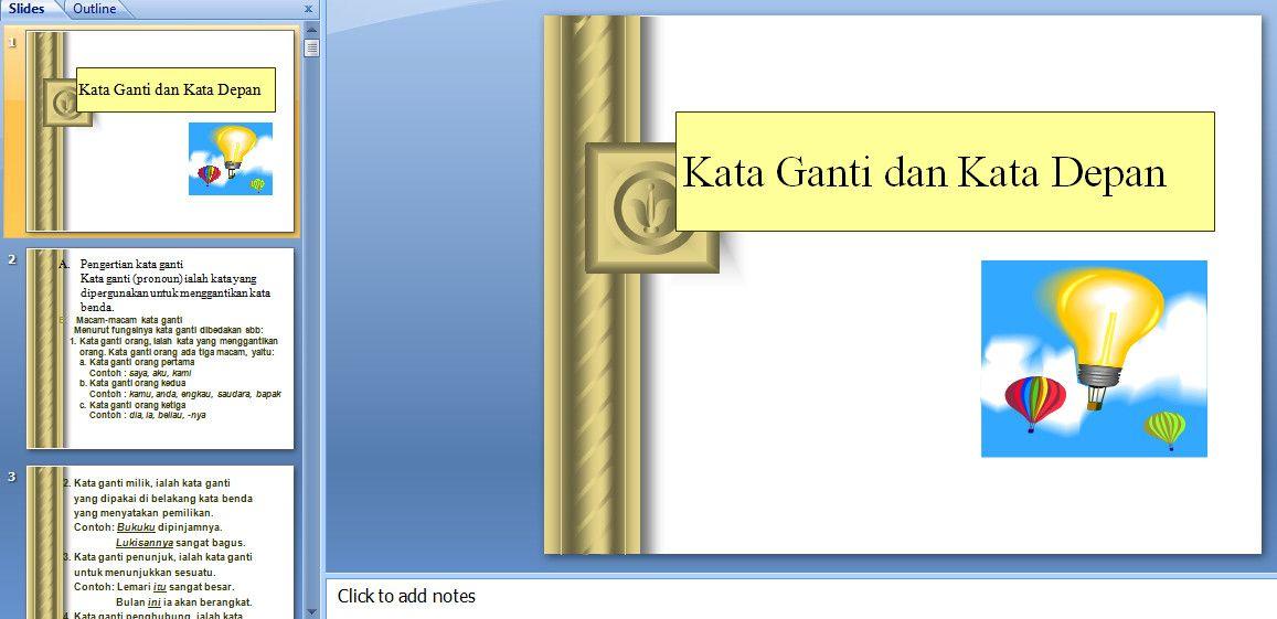 Media Pembelajaran Bahasa Indonesia Kata Ganti Dan Kata Depan Menggunakan Powerpoint Powerpoint Shishi Knowledge