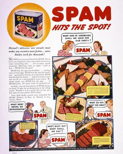 vintage advertising poster reproduction. Spam-1940s