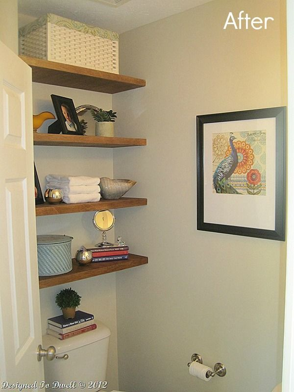 A lovely half bath makeover and floating shelves tutorial featured ...