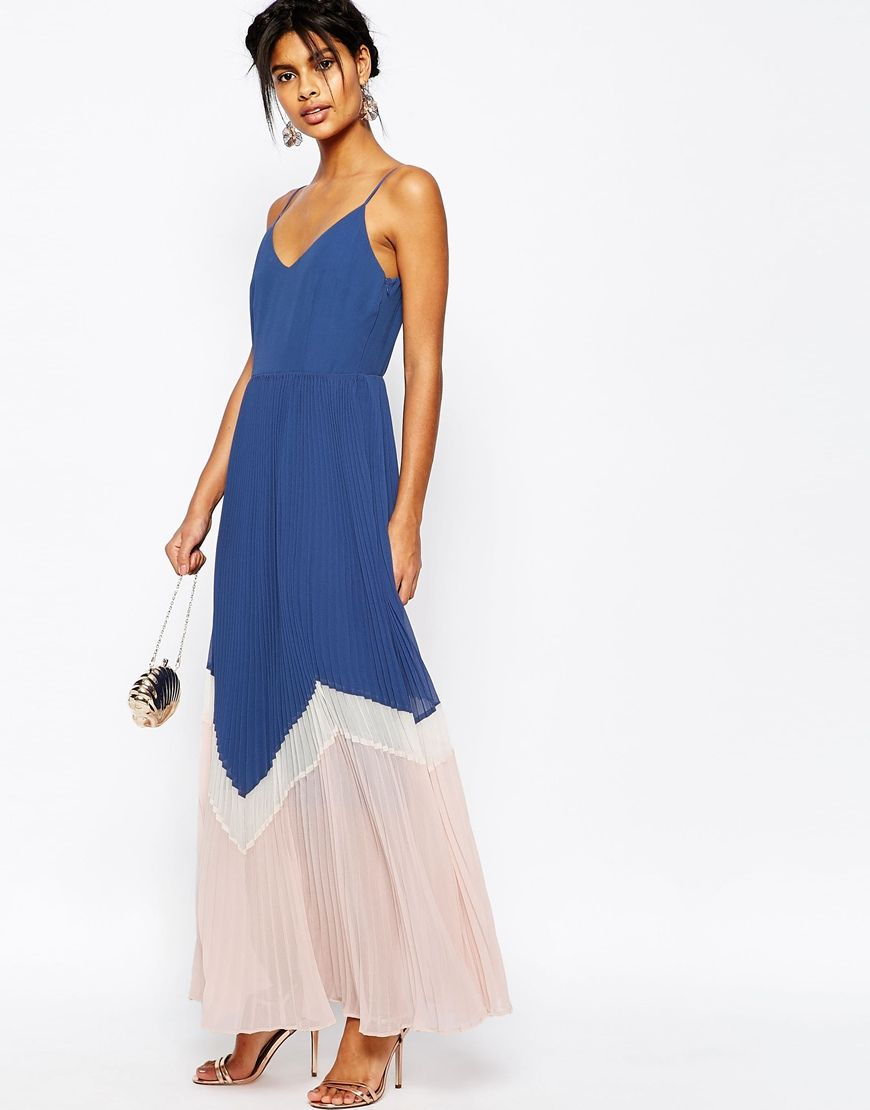 Image of asos maxi dress in pleated color block monmouth