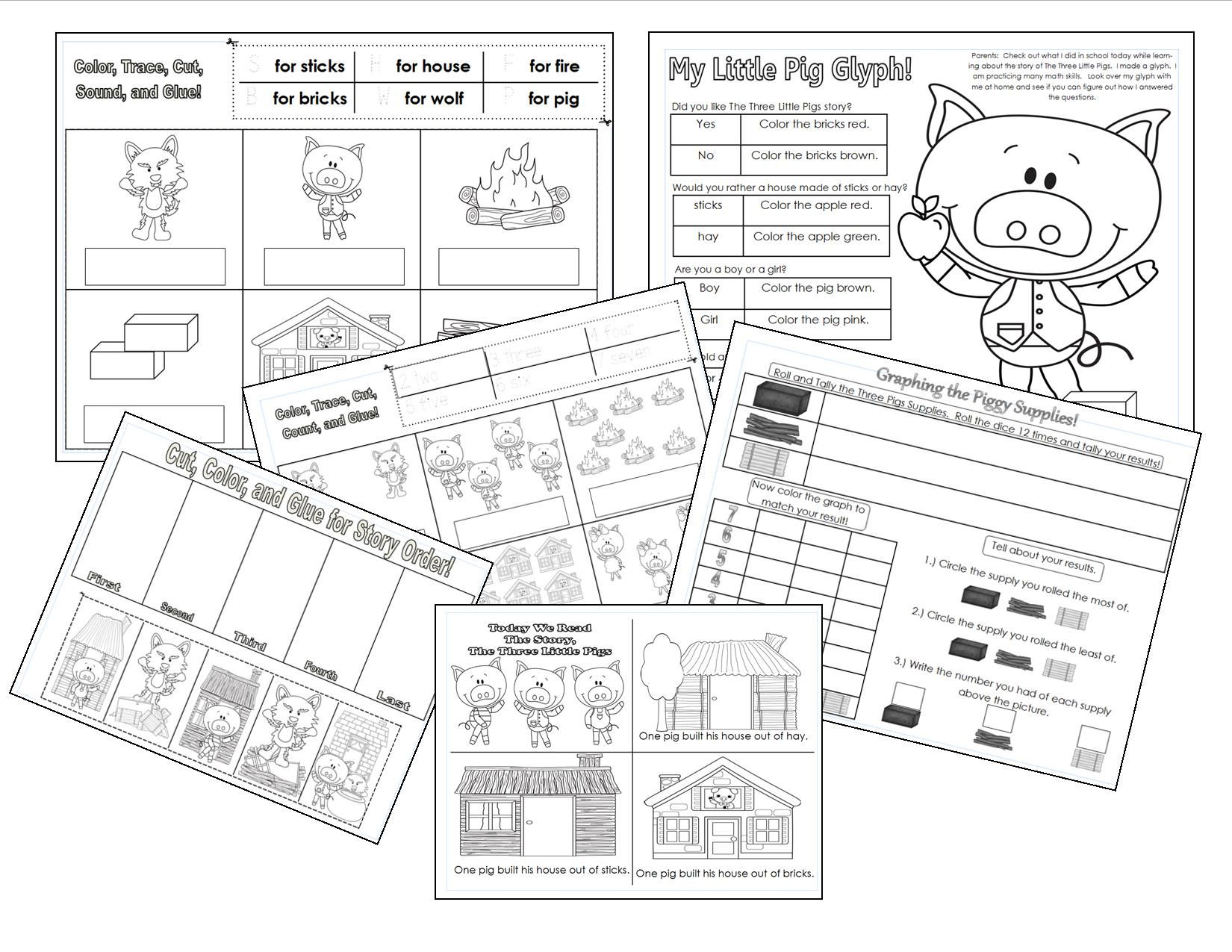 hight resolution of the three little pigs printables