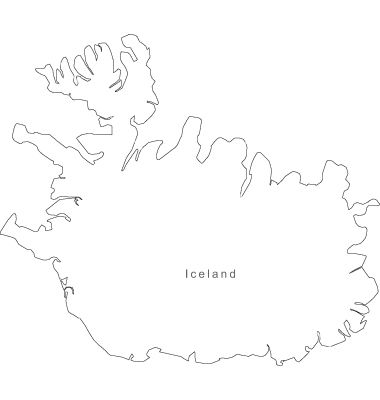 Black White Iceland Outline Map vector image on in 2019 | iceland ...