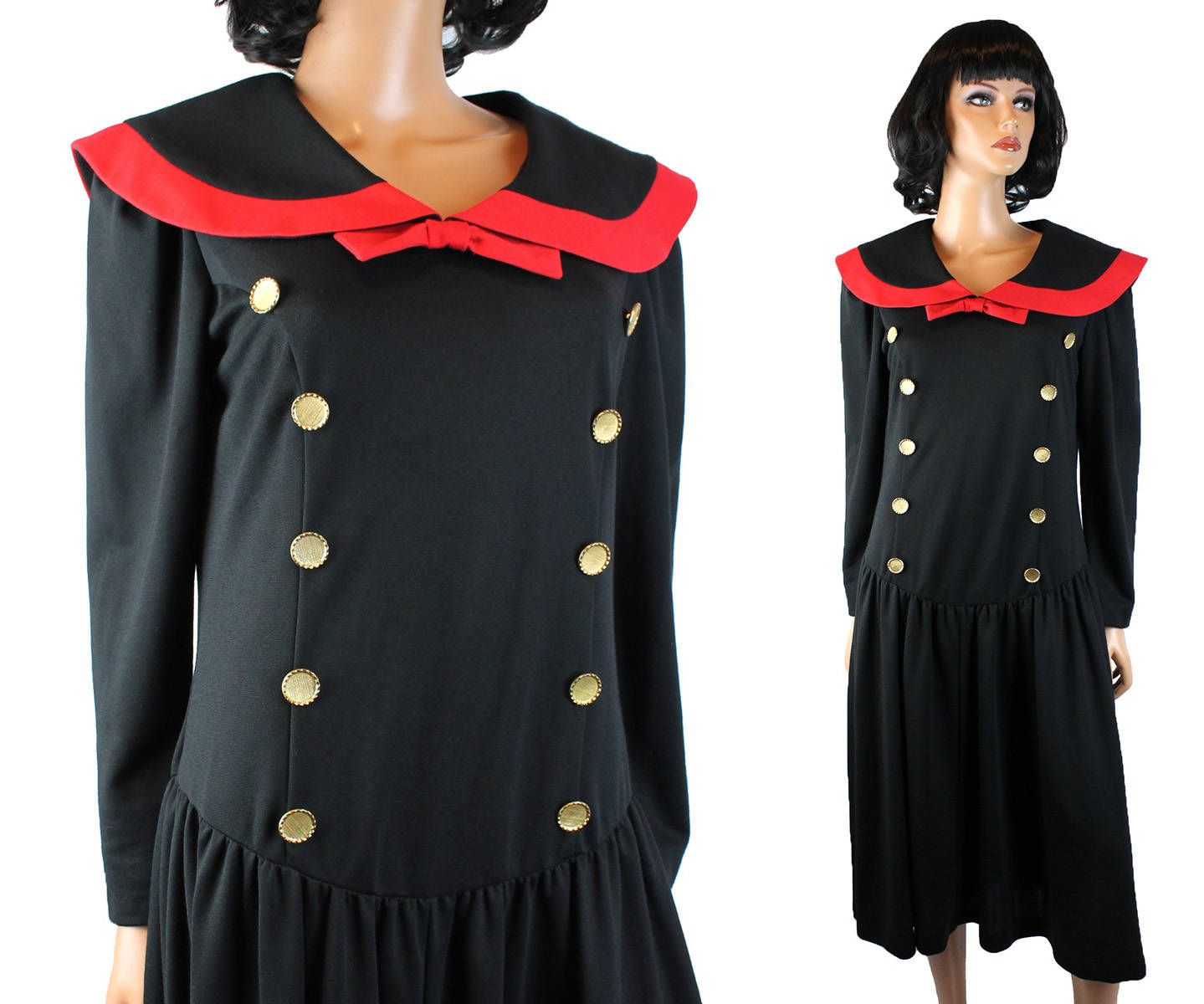 S sailor dress m l p vintage black red long sleeve stretchy poly