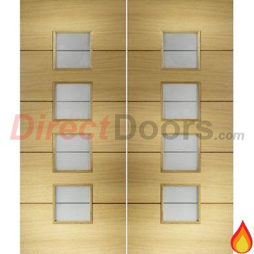 Amadora Oak Veneer Fire Door Pair With Frosted Safety Glass Is 30