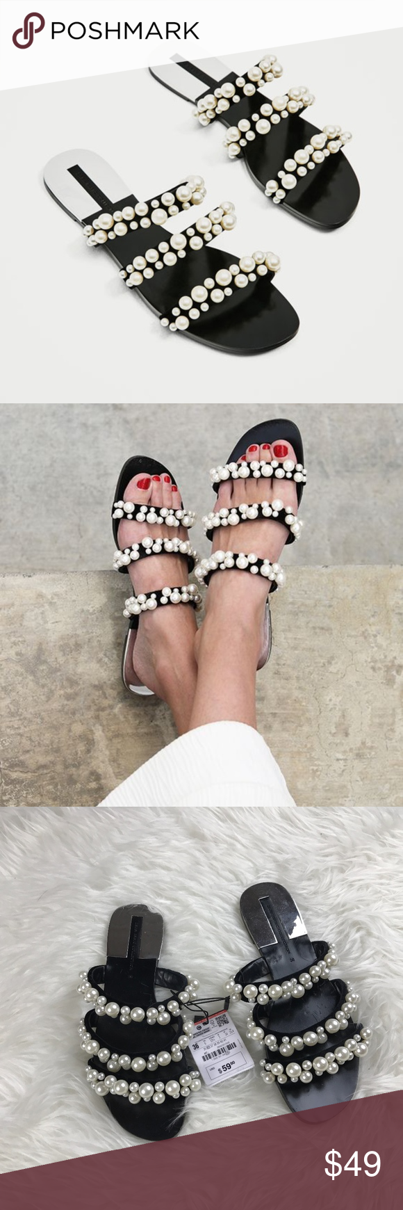 64a466e627f  Zara  Pearly Strappy Sandals Flat black sandals with three straps. Pearly  detail on the straps. Laminated silver piece on the sole. Some Scratches on  sole