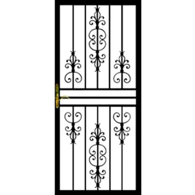 Grisham 36 In X 80 In 108 Series Black Hinge Right Flower Security Door With Self Storing Glass Feature Powder Security Door Steel Security Doors Storm Door