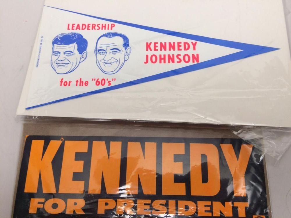 Jfk john f kennedy johnson 1960 set 2 orig bumper sticker banners new old stock