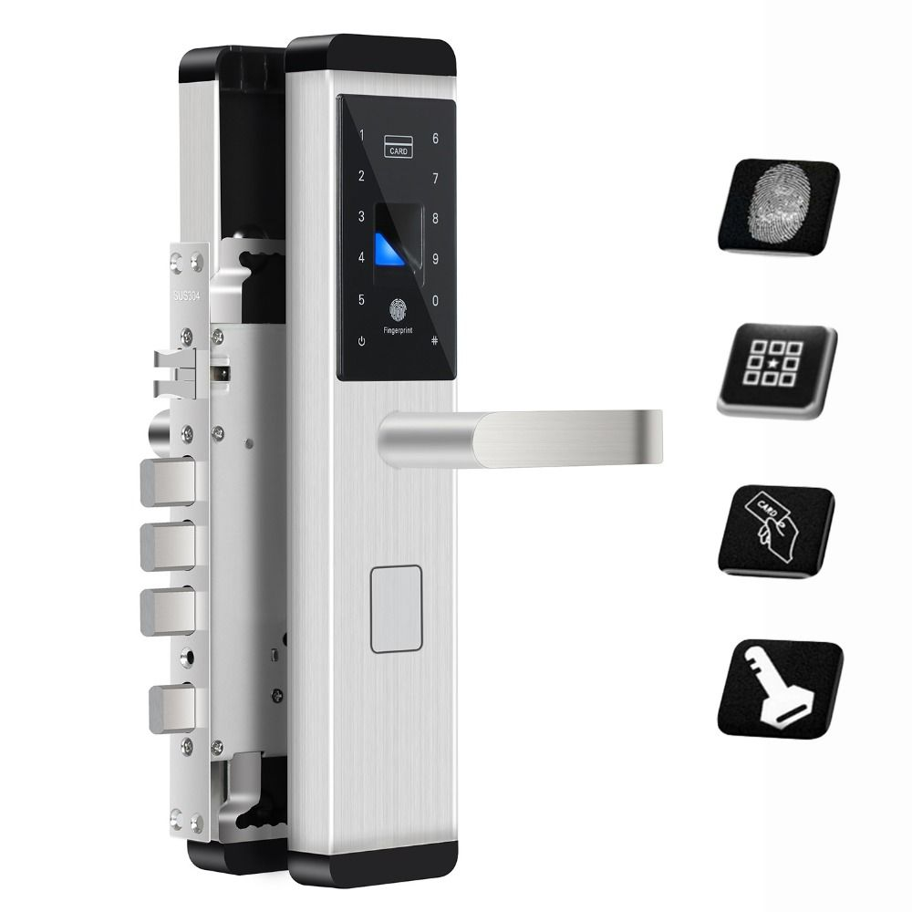Fingerprint Door Lock Digital Fingerprint / Password / Key / Card 4