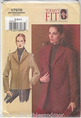 VOGUE Sew Pattern 7976 Misses Jacket Semi Fitted Hip or Below Length Uncut