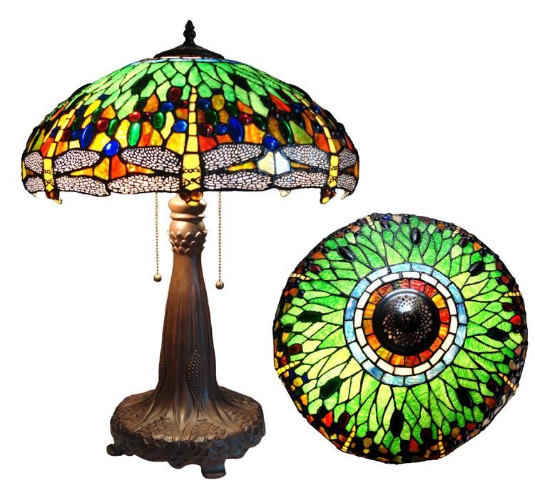 Litiffany style lamp with exceptional workmanship maintains litiffany style lamp with exceptional workmanship maintains brilliant color and beautyli liliovely table lamp features a classic dragonfly aloadofball Images