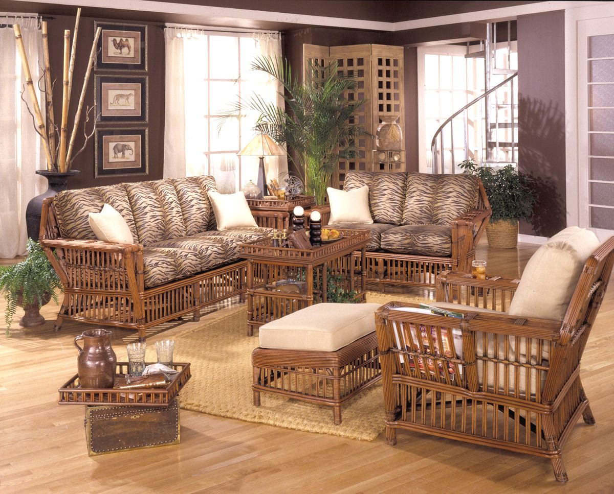 Williamsburg Rattan 6 Piece Living Room Set By Designer Wicker Wl
